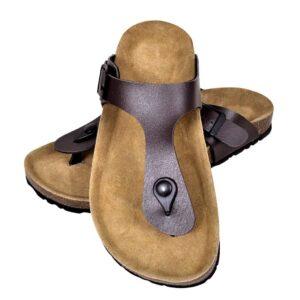 Sandália de cortiça, unisexo bio, design chinelo de dedo, castanho, 37 - PORTES GRÁTIS