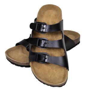 Sandália de cortiça, unisexo bio, com 3 correias fivela, preto, 38 - PORTES GRÁTIS