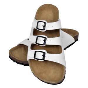 Sandália de cortiça, unisexo bio, com 3 correias fivela, branco, 38 - PORTES GRÁTIS