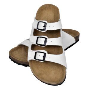 Sandália de cortiça, unisexo bio, com 3 correias fivela, branco, 41 - PORTES GRÁTIS