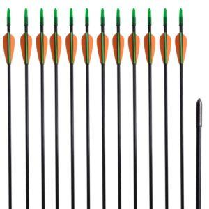 Flechas padrão recurve por arcos 76.2 cm/ 0,6 cm fibra de vidro 12 pçs - PORTES GRÁTIS