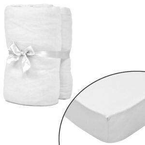 Lençol ajustável 2 pcs colchão 120x200-130x200cm algodão jersey branco - PORTES GRÁTIS