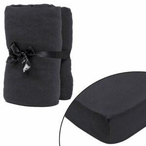 Lençol ajustável p/ colchão 120x200-130x200cm algodão jersey cinzento - PORTES GRÁTIS