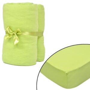 Lençol ajustável p/ colchão algodão 2 pcs 90x190-100x200cm verde maça - PORTES GRÁTIS