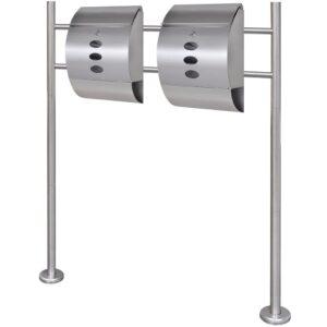 Caixa de correio, dupla, num suporte em aço inoxidável - PORTES GRÁTIS