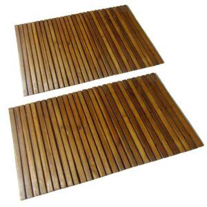 2 pc Tapetes de banho de acácia 80 x 50 cm - PORTES GRÁTIS