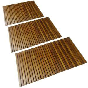 3 pcs Tapetes de banho de acácia 80 x 50 cm - PORTES GRÁTIS