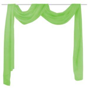 Cortina comprida em voile transparente 140 x 600 cm verde - PORTES GRÁTIS