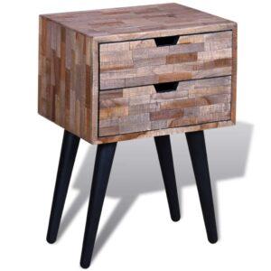 Mesa de cabeceira com 2 gavetas, madeira reciclada maciça   - PORTES GRÁTIS