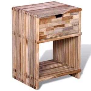 Mesa de cabeceira com gaveta, madeira reciclada maciça  - PORTES GRÁTIS