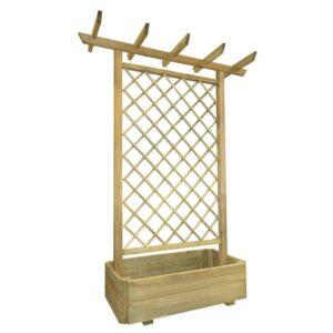 Pérgola com vaso de jardim 162x56x204 cm madeira FSC - PORTES GRÁTIS