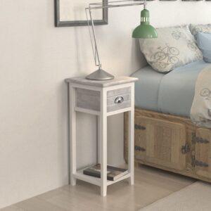 Mesa de cabeceira com 1 gaveta, cinzento e branco  - PORTES GRÁTIS