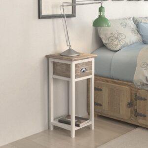 Mesa de cabeceira com 1 gaveta, castanho e branco  - PORTES GRÁTIS