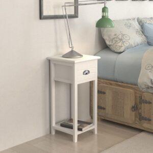 Mesa de cabeceira com 1 gaveta, branco   - PORTES GRÁTIS