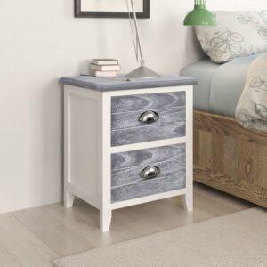Mesa de cabeceira com 2 gaveta 2 pcs cinzento e branco  - PORTES GRÁTIS