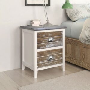 Mesa de cabeceira com 2 gavetas 2 pcs castanho e branco  - PORTES GRÁTIS