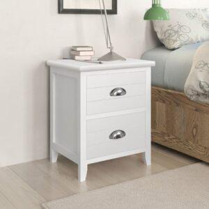 Mesa de cabeceira com 2 gavetas 2 pcs branco  - PORTES GRÁTIS