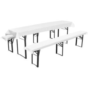 Capa mesa de cerveja + 2 capas bancos acolchoados branco 240 x 70 cm  - PORTES GRÁTIS