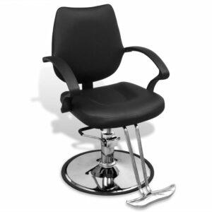 Cadeira profissional de cabeleireiro de couro artificial, preta - PORTES GRÁTIS