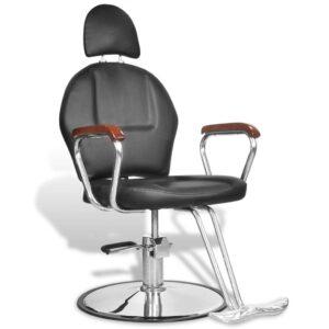 Cadeira cabeleireiro com apoio para a cabeça, pele artificial, preta - PORTES GRÁTIS