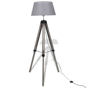 Luminária de piso de madeira com tripé ajustável e tecido cinzento  - PORTES GRÁTIS