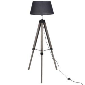 Luminária de piso de madeira com tripé ajustável e tecido preto  - PORTES GRÁTIS