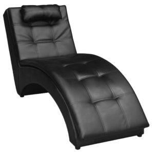Chaise Lounge com travesseiro couro artificial preto  - PORTES GRÁTIS