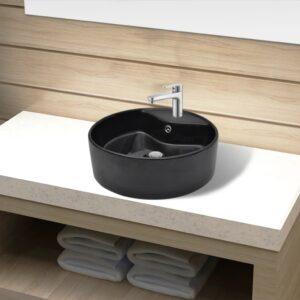 Lavatório cerâmica c/ orifícios para torneira/transbordo redondo preto - PORTES GRÁTIS