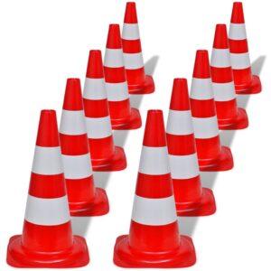 10 cones de sinalização viária reflexivos vermelho e branco, 50 cm - PORTES GRÁTIS