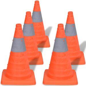 5 pop-up cones de sinalização 42 cm - PORTES GRÁTIS