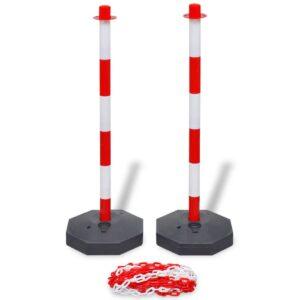 Conjunto poste de cadeia com 10 m de cadeia de plástico - PORTES GRÁTIS