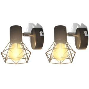 2 apliques de arame estilo industrial com LED, preto - PORTES GRÁTIS