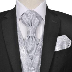 Conjunto colete casamento p/ homem estampa caxemira tam. 48 prateado - PORTES GRÁTIS