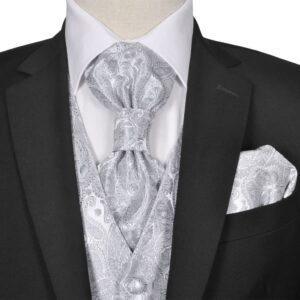 Conjunto colete casamento p/ homem estampa caxemira tam. 52 prateado - PORTES GRÁTIS