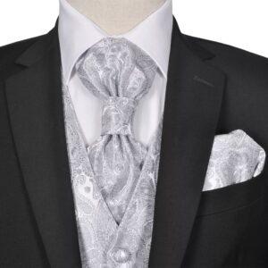 Conjunto colete casamento p/ homem estampa caxemira tam. 56 prateado - PORTES GRÁTIS