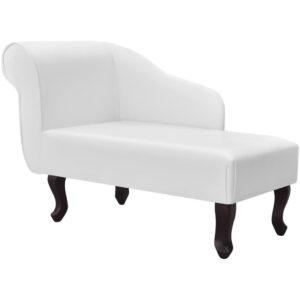 Chaise Lounge couro artificial branco  - PORTES GRÁTIS