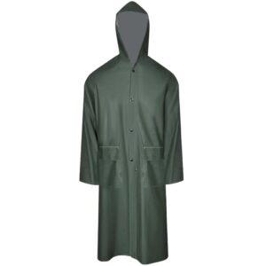 Capa de chuva comprida resistente e impermeável + capuz verde M - PORTES GRÁTIS
