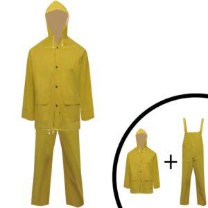 Fato de chuva resistente e impermeável + capuz amarelo, 2 pcs, L - PORTES GRÁTIS