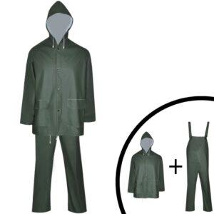Fato de chuva resistente e impermeável + capuz verde XL, 2 pcs - PORTES GRÁTIS