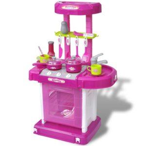 Cozinha infantil de brincar com efeito de luz e som, rosa - PORTES GRÁTIS