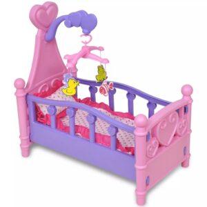 Cama boneca brinquedo, cor-de-rosa + roxo - PORTES GRÁTIS