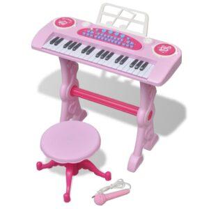 Teclado de brincar infantil com banco/microfone, 37 teclas, rosa - PORTES GRÁTIS