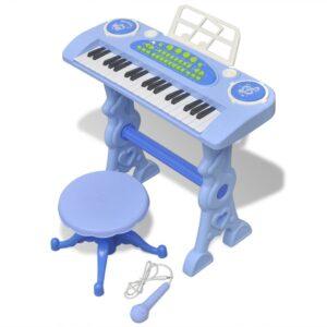 Piano brinquedo com banco/microfone, 37 teclas, azul - PORTES GRÁTIS