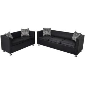 Conjunto de sofás de 2 e 3 lugares couro artificial preto  - PORTES GRÁTIS