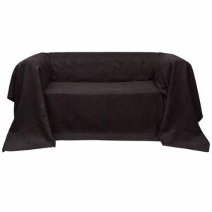 Manta de sofá em microfibra castanho 140 x 210 cm - PORTES GRÁTIS