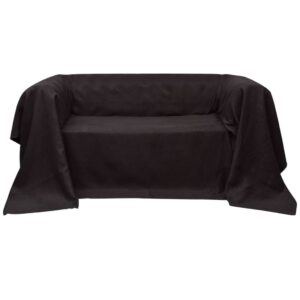 Manta de sofá em microfibra, castanho, 270 x 350 cm - PORTES GRÁTIS