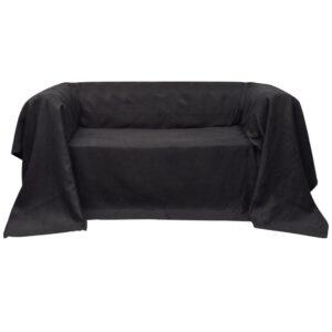Manta de sofá em microfibra antracite 140 x 210 cm - PORTES GRÁTIS