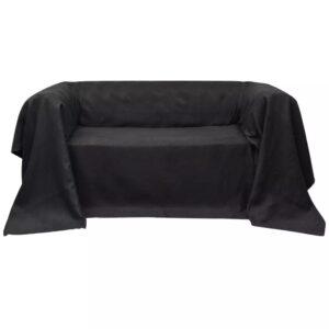 Manta de sofá em microfibra antracite 270 x 350 cm - PORTES GRÁTIS