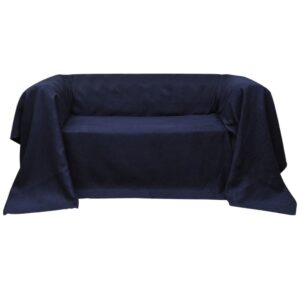 Manta de sofá em microfibra azul marinho 140 x 210 cm - PORTES GRÁTIS