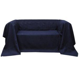 Manta de sofá em microfibra azul marinho 210 x 280 cm - PORTES GRÁTIS